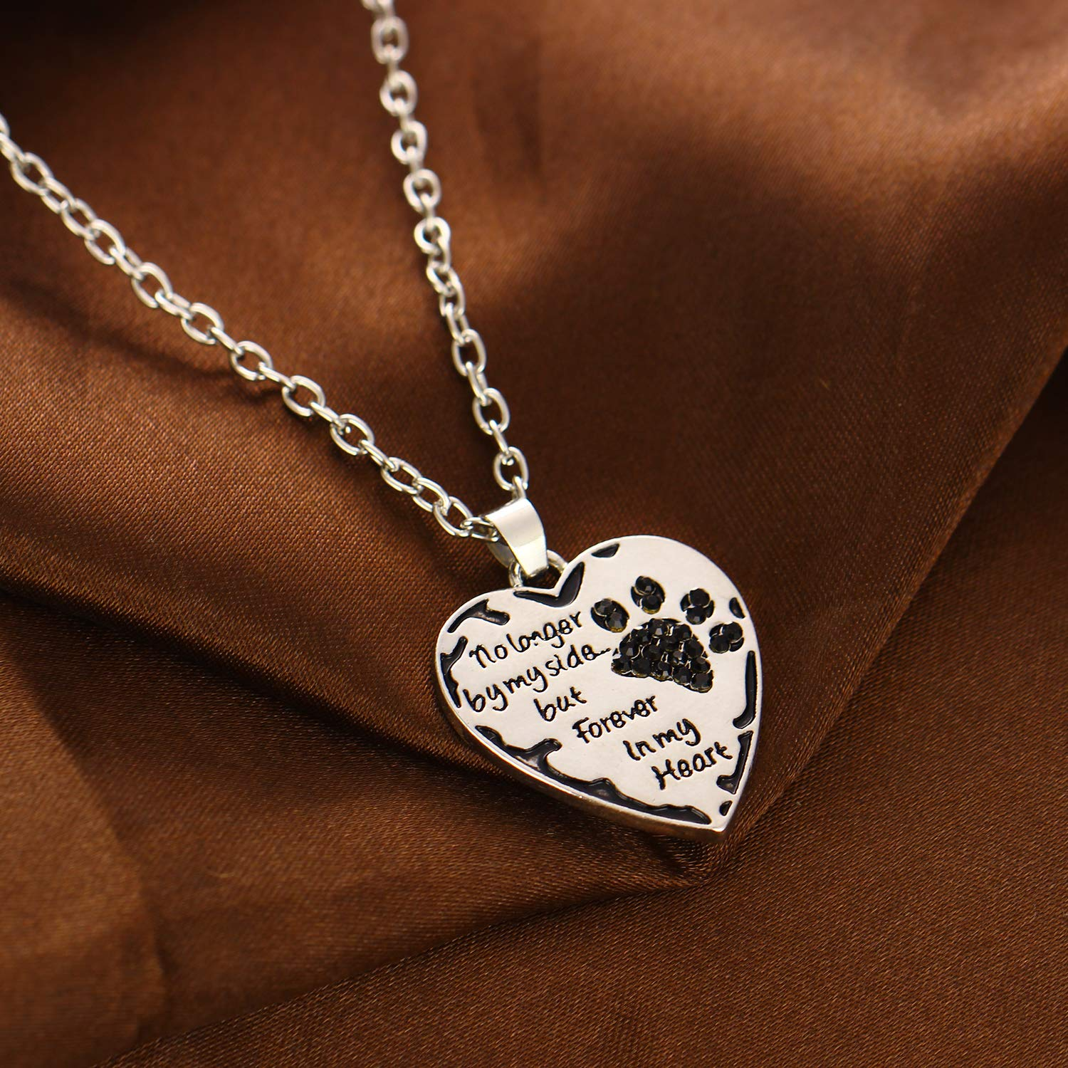 892a14087 Amazon.com: YeeQin No Longer by My Side but Forever in My Heart Crystal Paw  Prints Necklace (Black): Jewelry