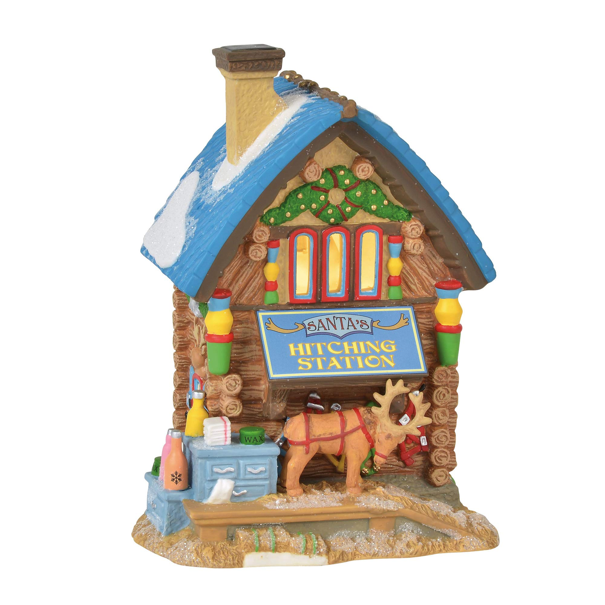 Department 56 North Pole Village Series Santa's Hitching Station Lit Building 6.75'' Multicolor