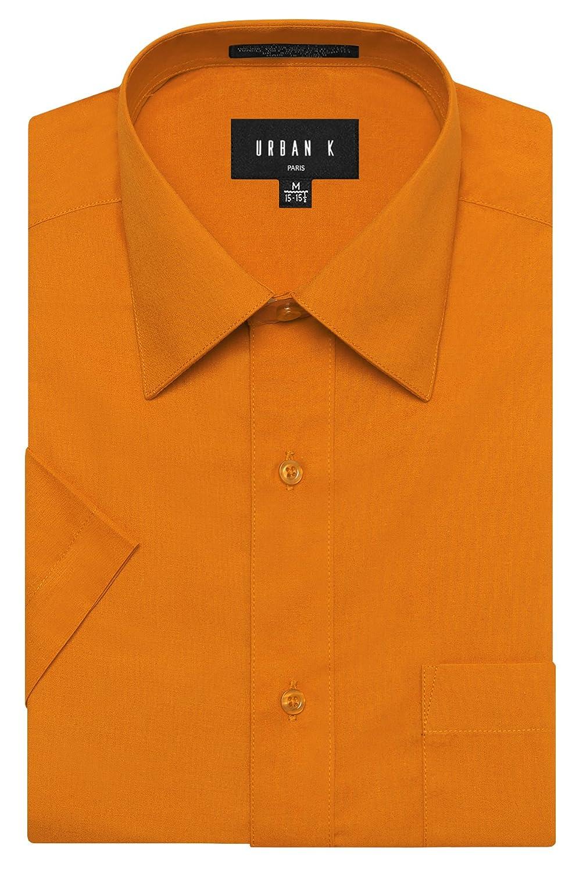 URBAN K メンズMクラシック フィット ソリッドフォーマル襟 半袖ドレスシャツ レギュラー & 大きいサイズ B06WVFH6CJ XL|Ubk_orange Ubk_orange XL