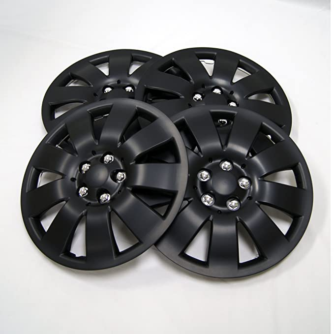 TuningPros WSC-006B15 Hubcaps Wheel Skin Cover 15-Inches Matte Black Set of 4