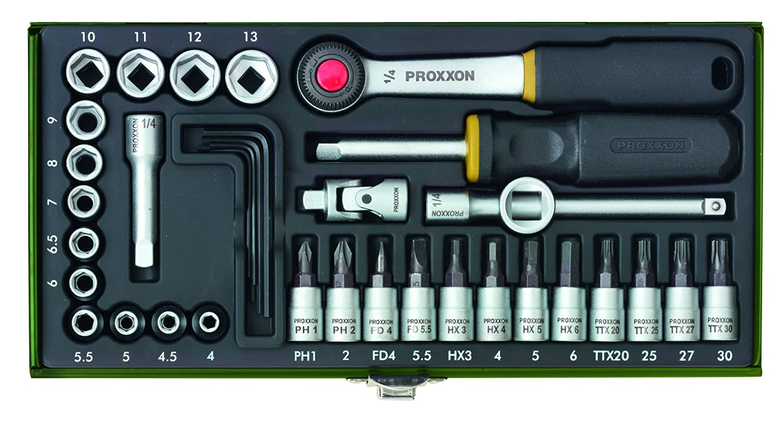 Proxxon (23080) 36 Piece Socket Set with 1/4 inch Square Drive