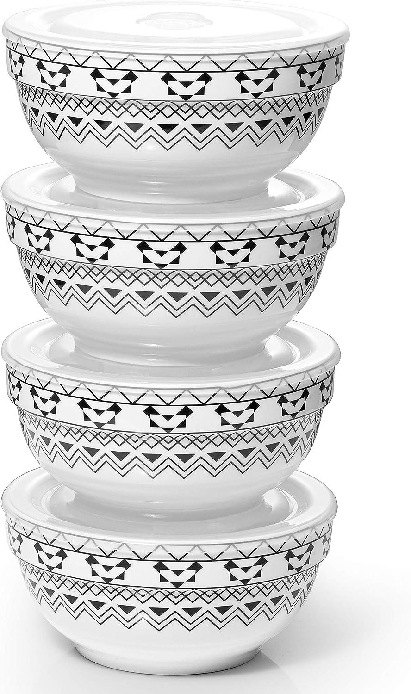 Dowan Porcelain Bowls Set with Lid, 22 oz Cereal Soup Bowls, Ceramic Food Storage Bowls, Dishwasher & Microwave Safe, Prep Bowls for Kitchen, Modern Bohemian Bowl for Oatmeal Rice Pasta Salad, 4 Pack