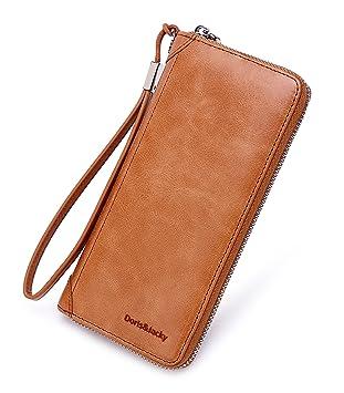 0568230997ec8 Damen Echt Leder Geldbörse RFID Schutz Langes Portemonnaie Geldbeutel  Clutch Wallet viele Fächer mit Reißverschluss Handschlaufe