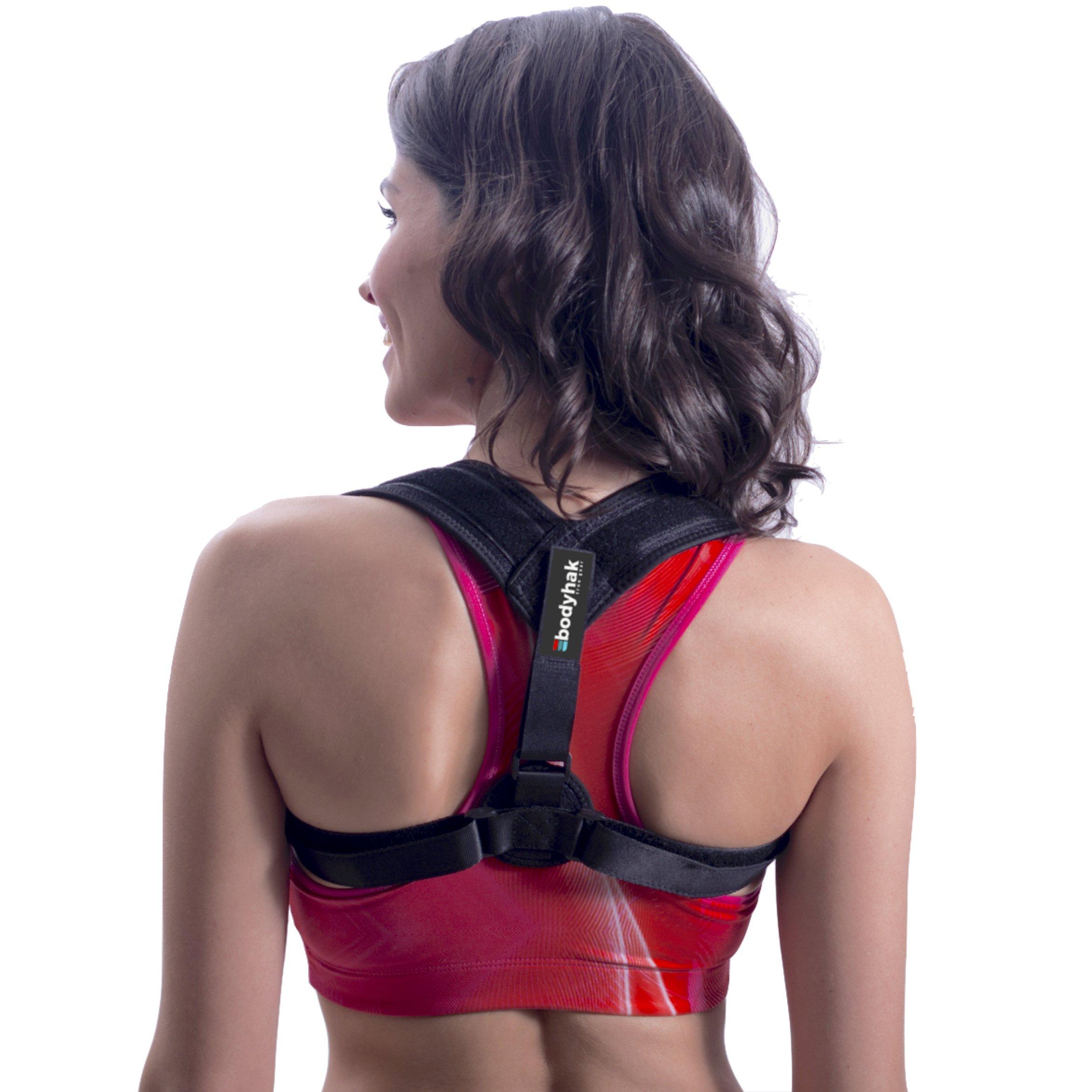 Bodyhak Back posture corrector for women and men - Adjustable upper back brace for shoulder and clavicle support - Improve bad posture - relieve neck & back pain - invisible under clothes