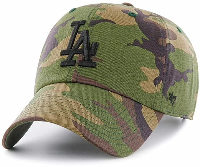 b5082b31 47 Los Angeles Dodgers Brand Unwashed Camo Clean Up Slouch Fit Hat,Wood  Camo,One Size