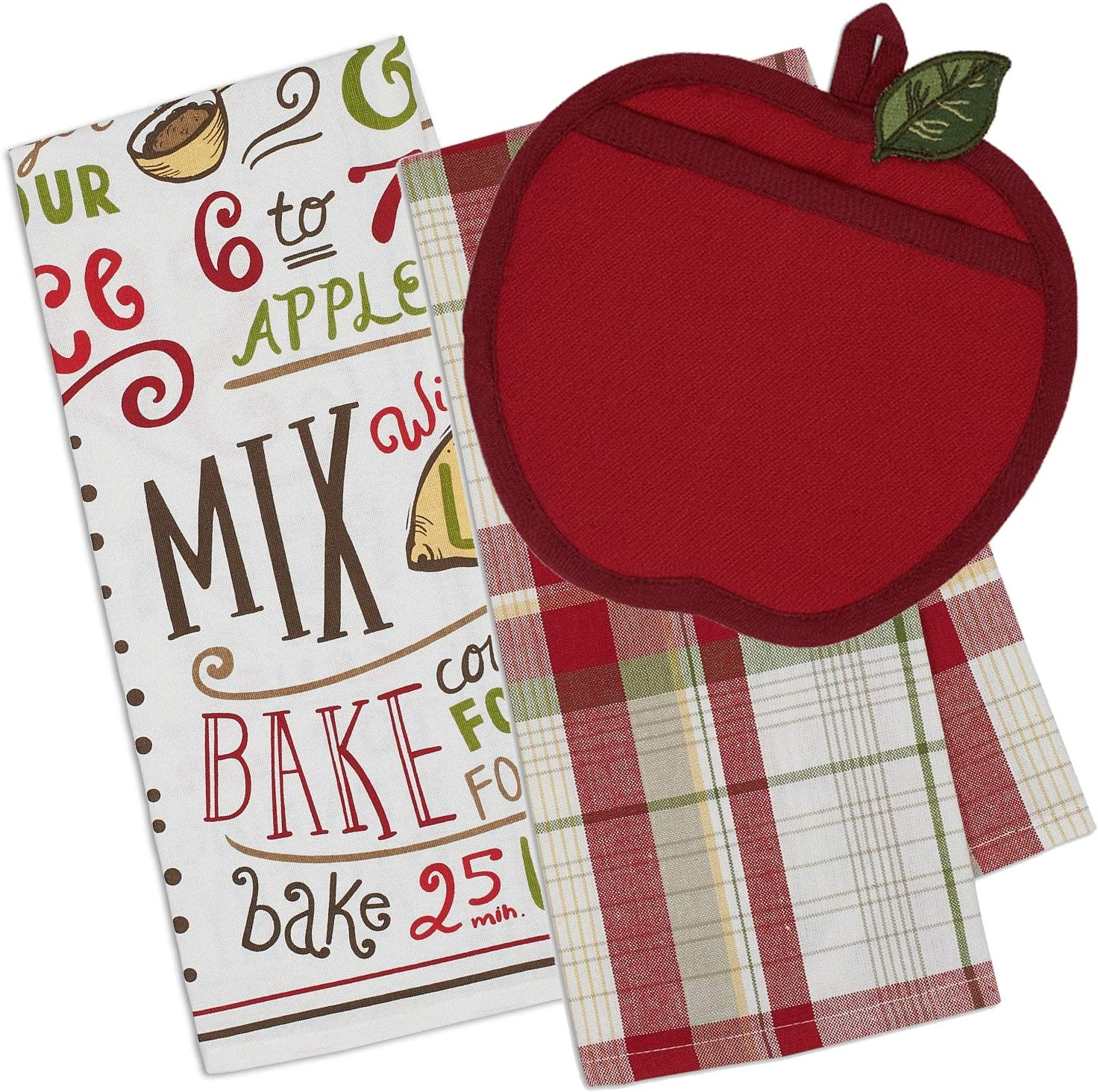 Life on the Lane Apple Kitchen Decor Set - Apple Potholder and 2 Matching Kitchen Dish Towels