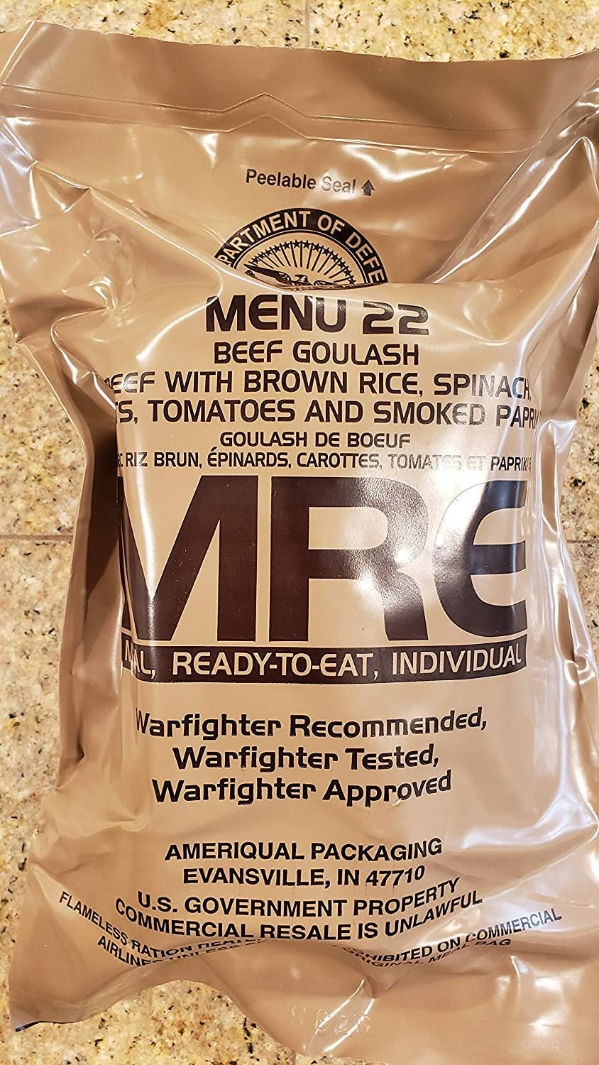 Genuine Military MRE Meal with Inspection Date 2022 or Newer (Beef Goulash} Meal 22 Meals Ready To Eat