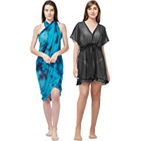 SOURBH Sarong Kaftan Beach Wear for Women Combo Value Pack Body Wrap Swim Coverup - Set of 2 (Free Size)