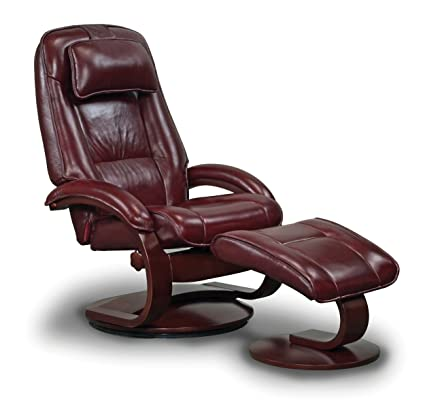 Great Mac Motion Oslo Collection Recliner With Matching Ottoman In Merlot Top  Grain Leather With Alpine Frame