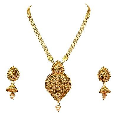 63bdf98068e Buy Sitashi Gold Plated Long Antique Necklace Set for Women Online ...