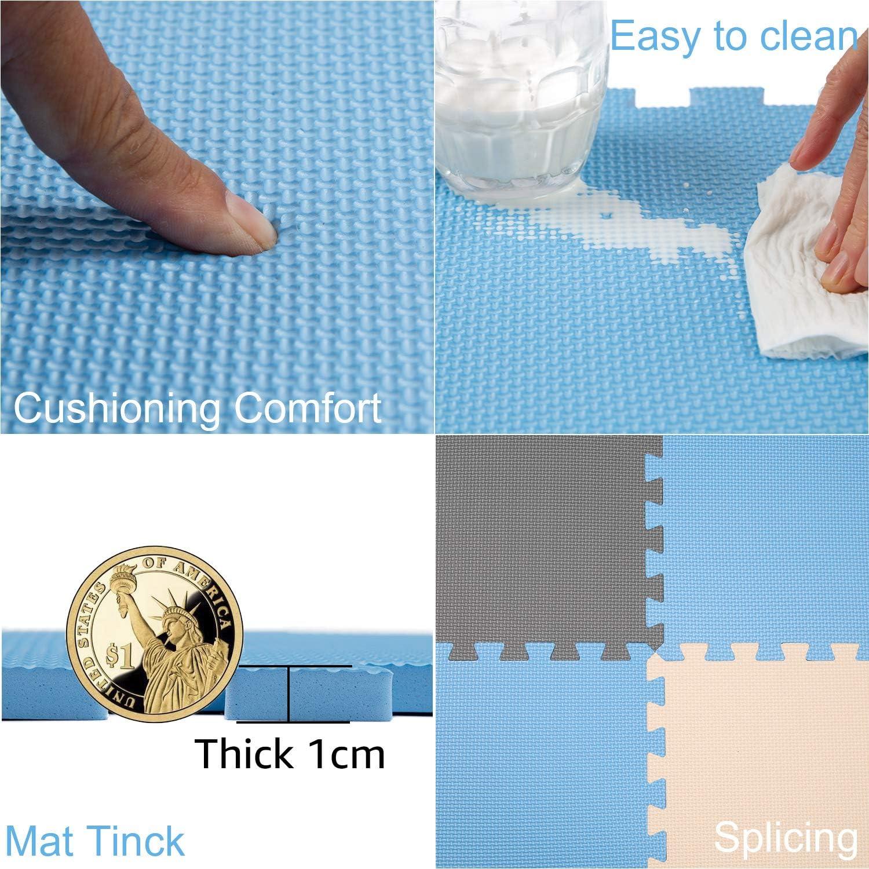 Yostrong Schutzmatten Set Puzzlematte Boden Schutz Matte 25 Puzzle Bodenschutzmatten Unterlegmatte spielmatte Baby YC-GJLb25N Grau Beige Fitnessmatte Blau