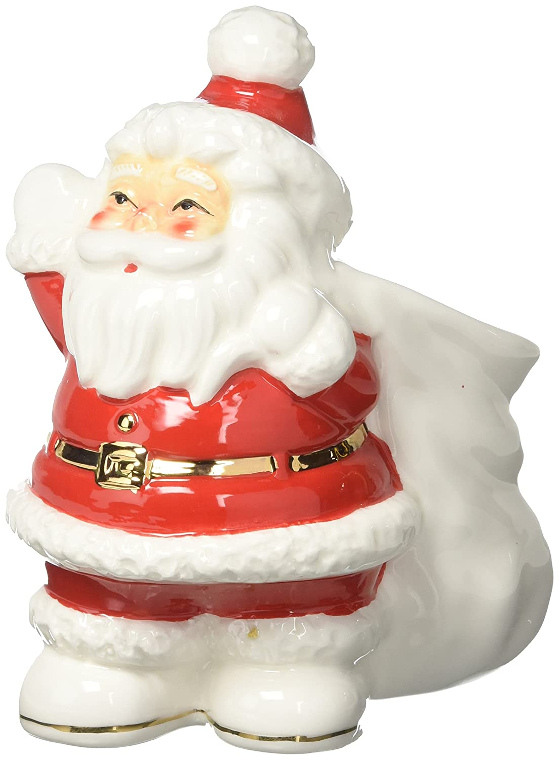 Creative Co-Op XM0737 Ceramic Santa Container Vintage Reproduction