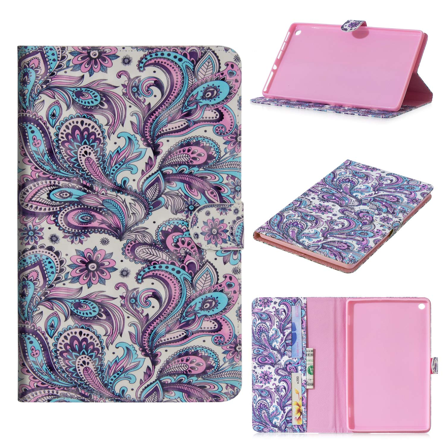 JCTek Fire HD 10 Tablet Case, Ultra Slim Leather Wallet Case Auto Wake/Sleep Smart Case, 2017 (Colorful owl) Fire HD 10 2017