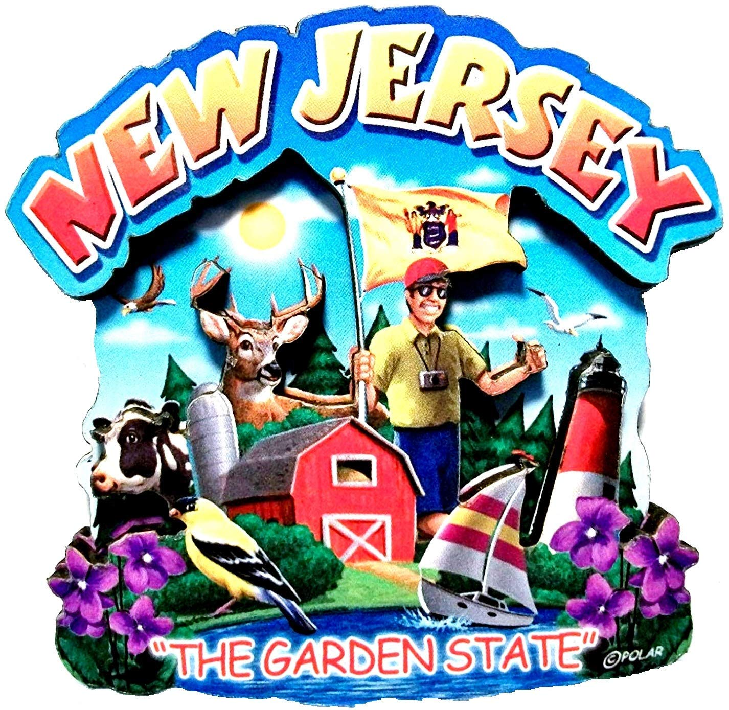 New Jersey State Montage Wood Fridge Magnet 2