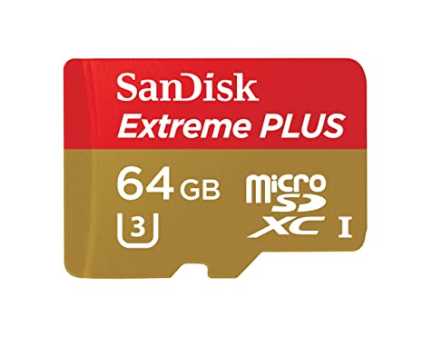 SanDisk Extreme PLUS 64GB microSDXC UHS-I/U3 Card with Adapter (SDSQXSG-064G-GN6MA)