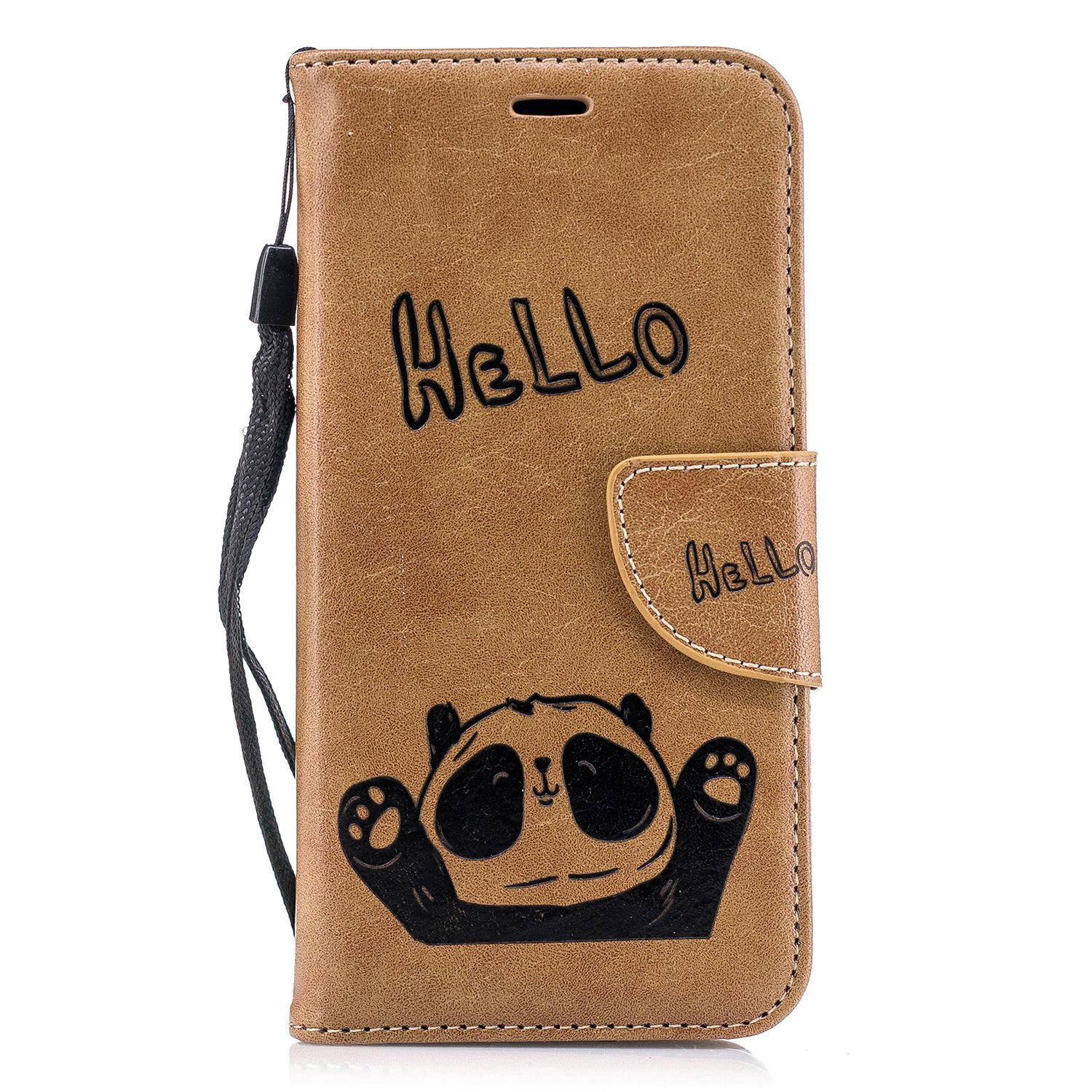 Meweri Cover for iPhone Xs/iPhone 9 PU Leather Wallet Magnetic Protective Case with Card Panda Flip Cover for Apple X Plus (iPhone 9 6.1, 4)
