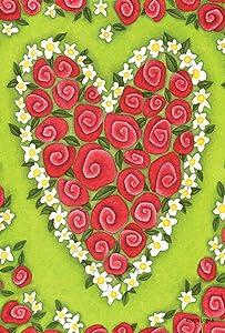 Toland Home Garden Heart Rose 28 x 40 Inch Decorative Red Valentine Flower House Flag