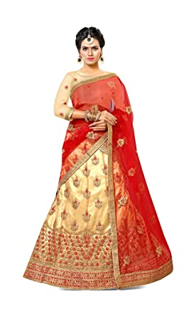 8b99957bf53 Image Unavailable. Image not available for. Colour  Gajiwala Saree Women s Net  Unstitched Lehenga Choli (Gold and Red)