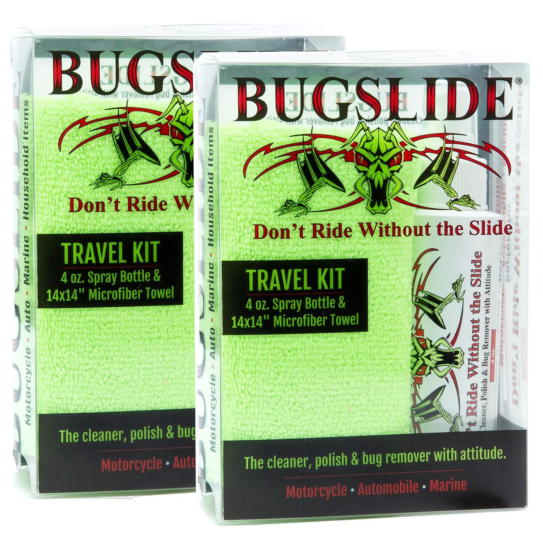 BugSlide Travel Kit with 4oz. Spray Bottle and Microfiber Towel, 4 Pack