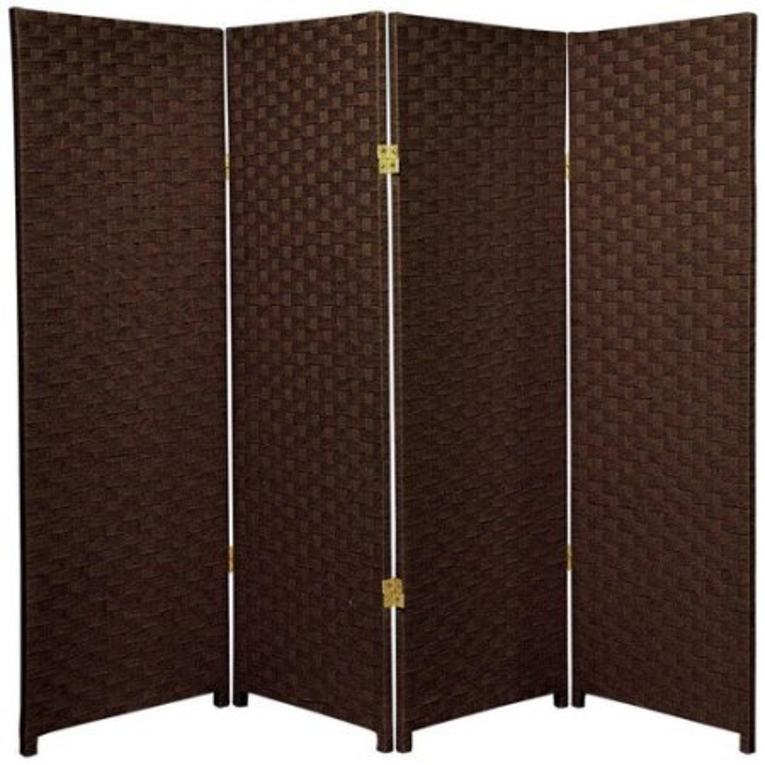 Natural Plant Fiber Woven Room Decor Dark Mocha 4 Panels Divider