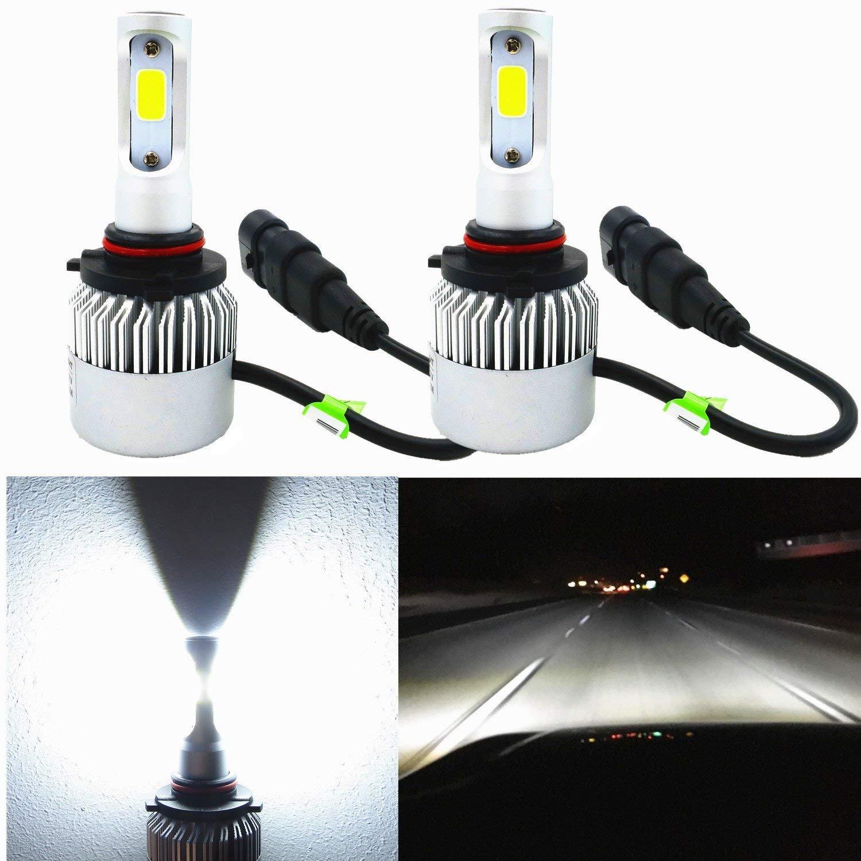 Alla Lighting 8000lm Xtremely Super Bright HIR2 9012 LED Headlight Bulbs COB Xenon White High Power Mini LED 9012 Headlight Bulb Conversion Kits Bulbs