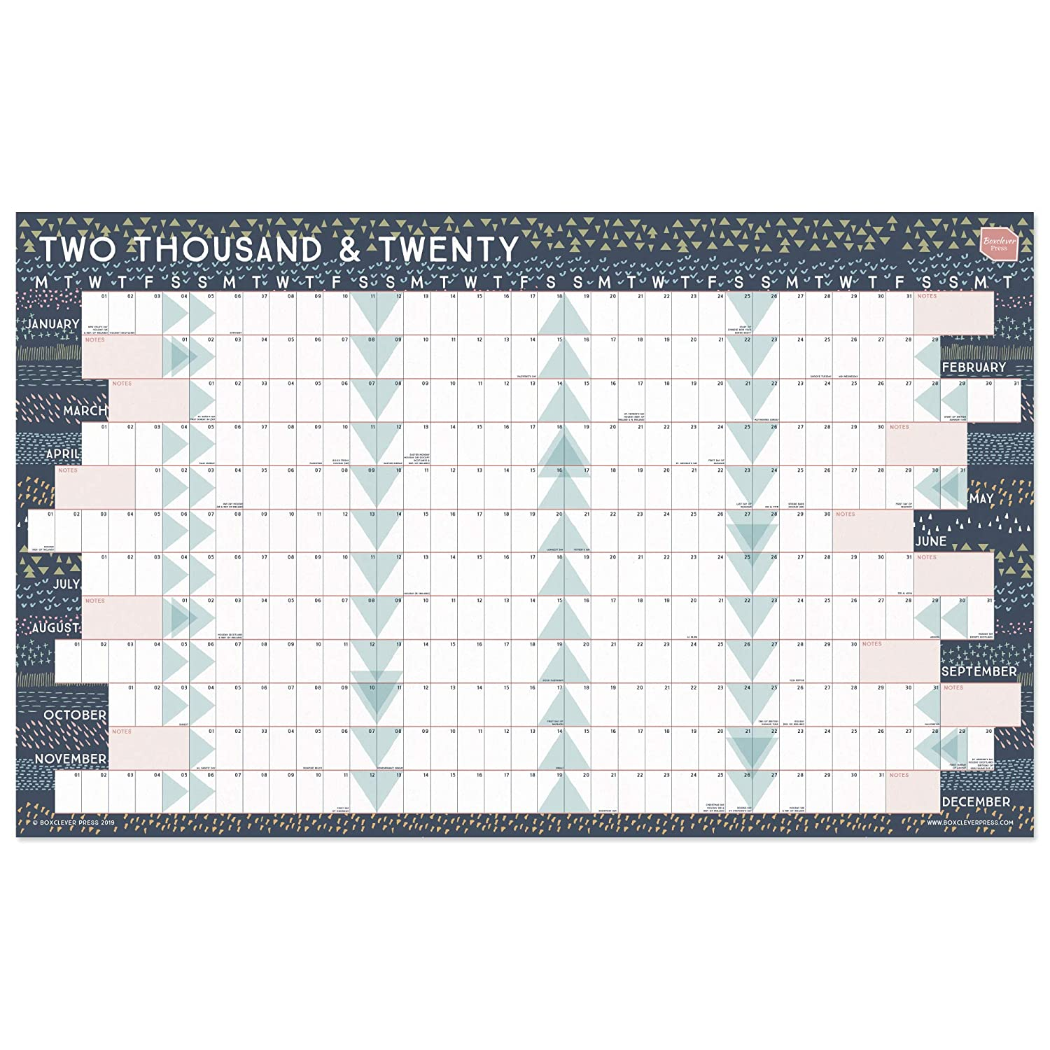 Ideal Home 2020.Boxclever Press 2020 Wall Planner Year Planner With Linear Format Ideal Home Or Office Wall Calendar Wall Planner 2020 Large Format Runs Jan