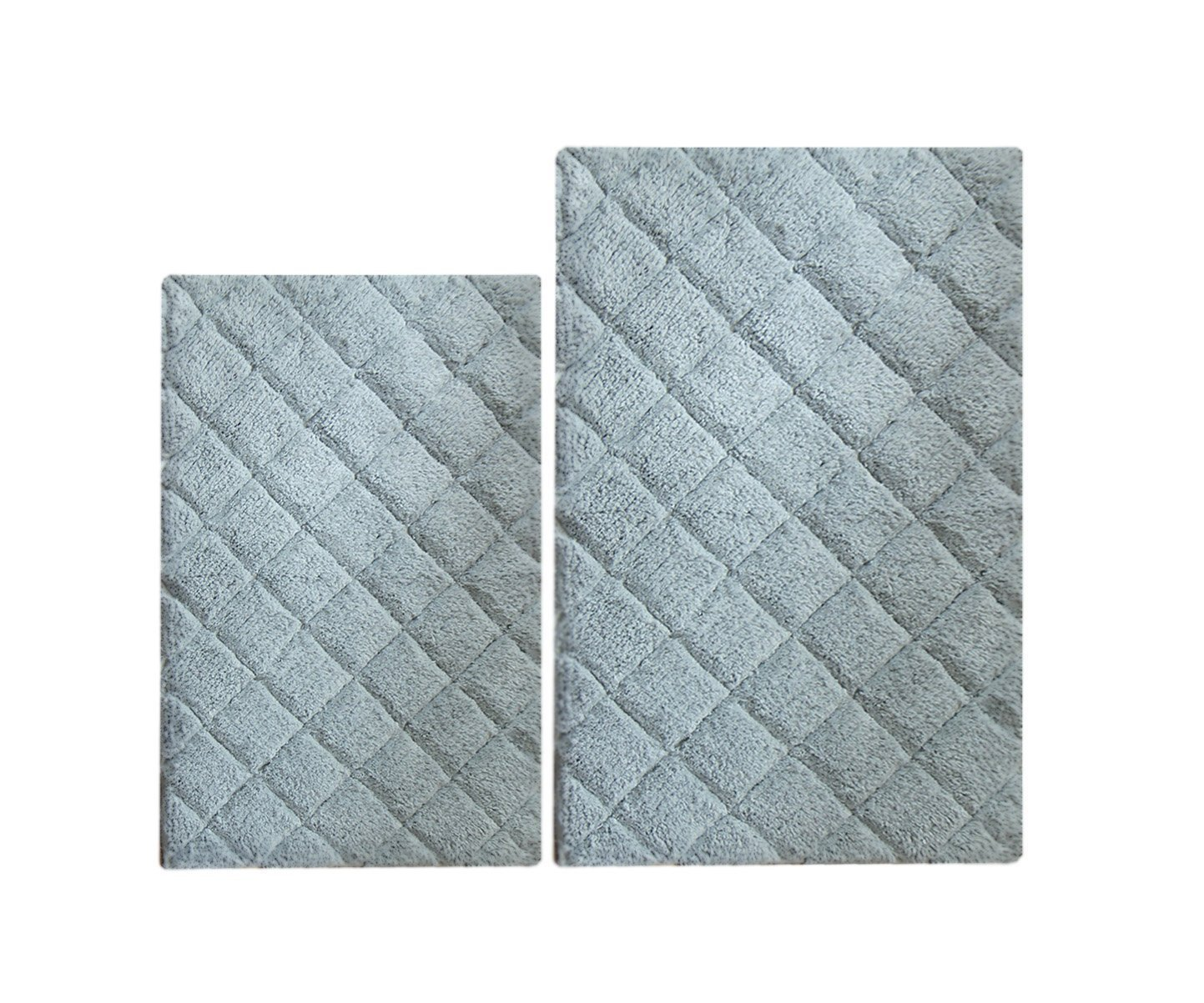 Chardin home 100% Cotton 2 Piece Impression Bath Rug Set, (24''x40'' & 21''x34'') Lt Gray