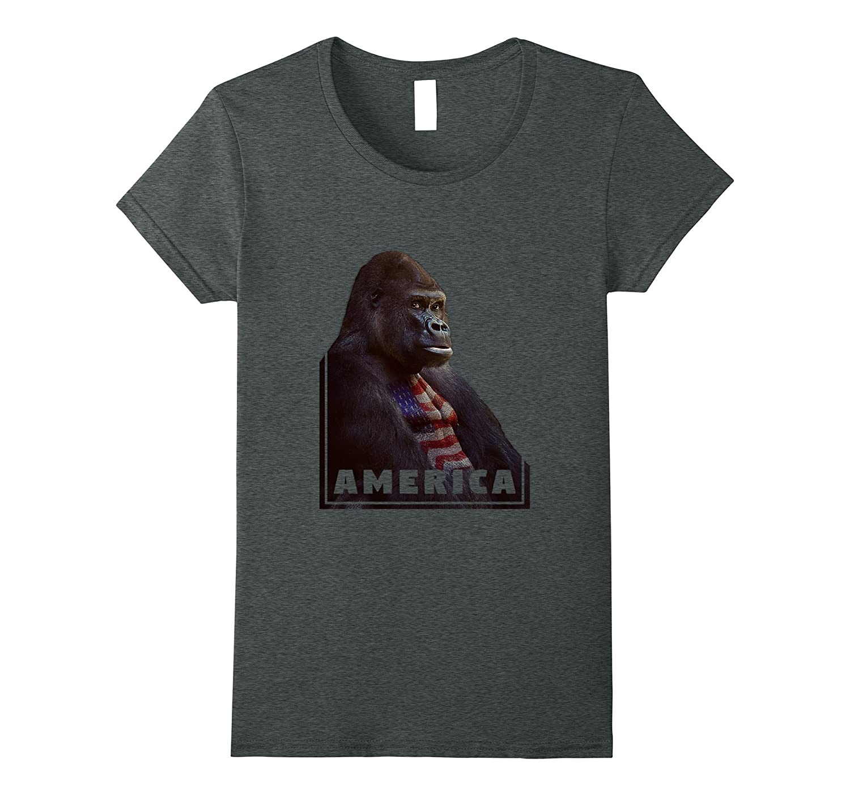 America Silverback 4th Of July Gorilla T-Shirt Design