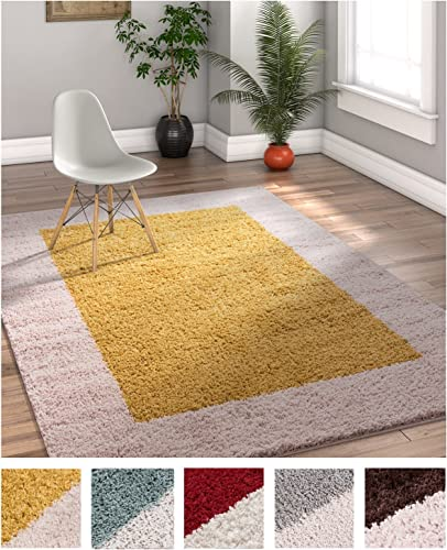 Porta Border Modern Geometric Shag 3×5 3 3 x 5 3 Area Rug Gold Beige Plush Easy Care Thick Soft Plush Living Room