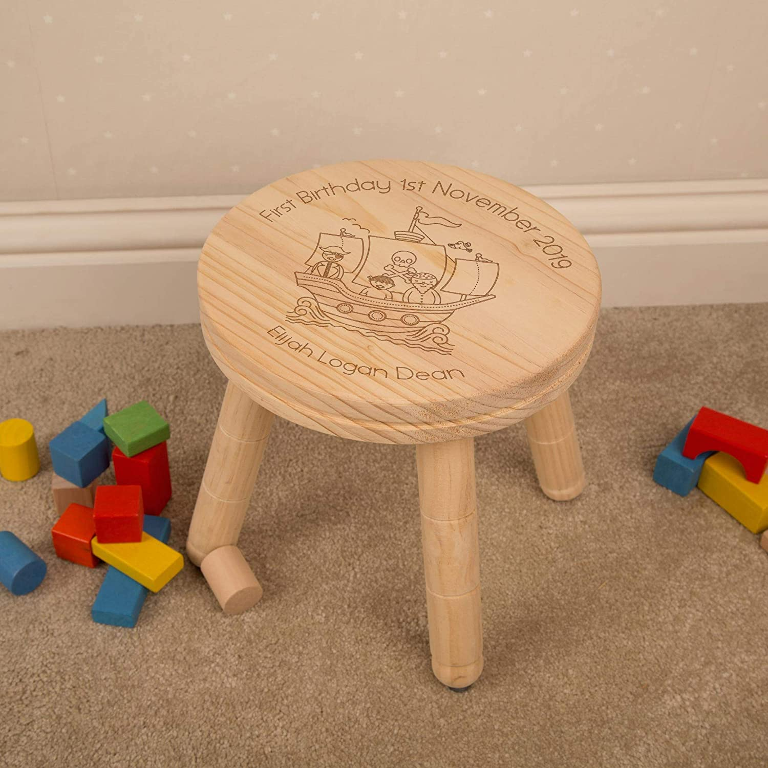 Laser Engraved Pirate Ship with Childs Name. Personalised Wooden Nursery Stool