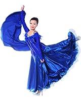 Colorfulworldstore Maßgeschneidertes Frauen-Turnierkleid für Modern-Dance, Walzer und Tango mit Federn und Strasssteinen