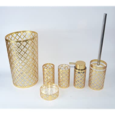 BH Home Luxurious 6 Piece Bathroom Accessory Set Made of 100% Polyresin. (Geneva Gold)