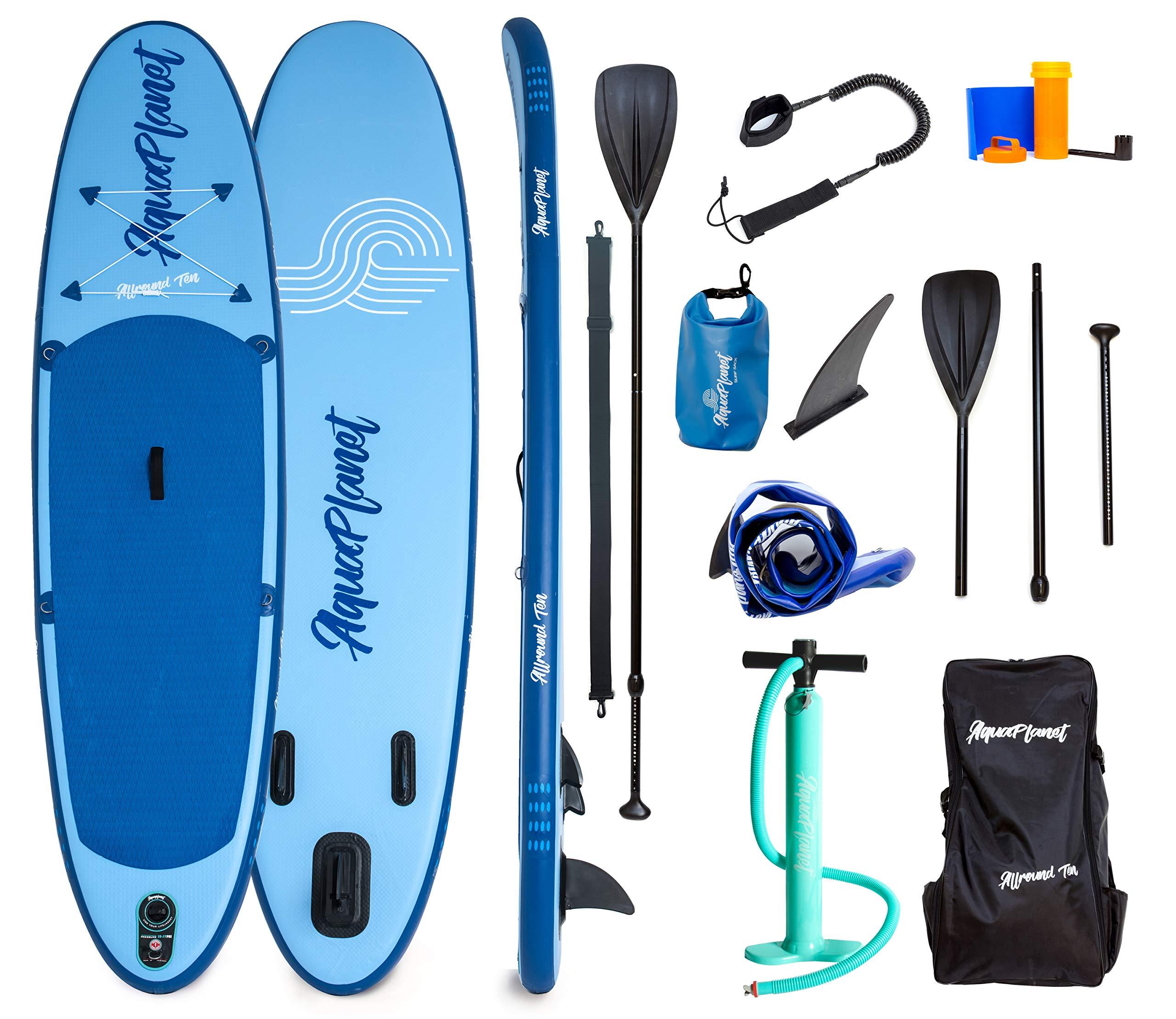 Aquaplanet 10ft Allround Paddle Board - Beginner's Kit. Air Pump with Pressure Gauge,Adjustable Aluminium Floating Paddle,Repair Kit,Heavy Duty Carry Rucksack & Premium Leash & 4 Kayak Seat Rings by Aquaplanet