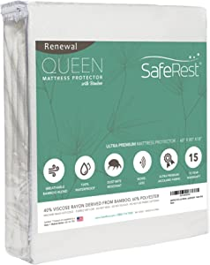 SafeRest Renewal Bamboo Derived Viscose Rayon Mattress Pad Protector Cover – Waterproof, Breathable, Hypoallergenic, Vinyl Free - Queen Size