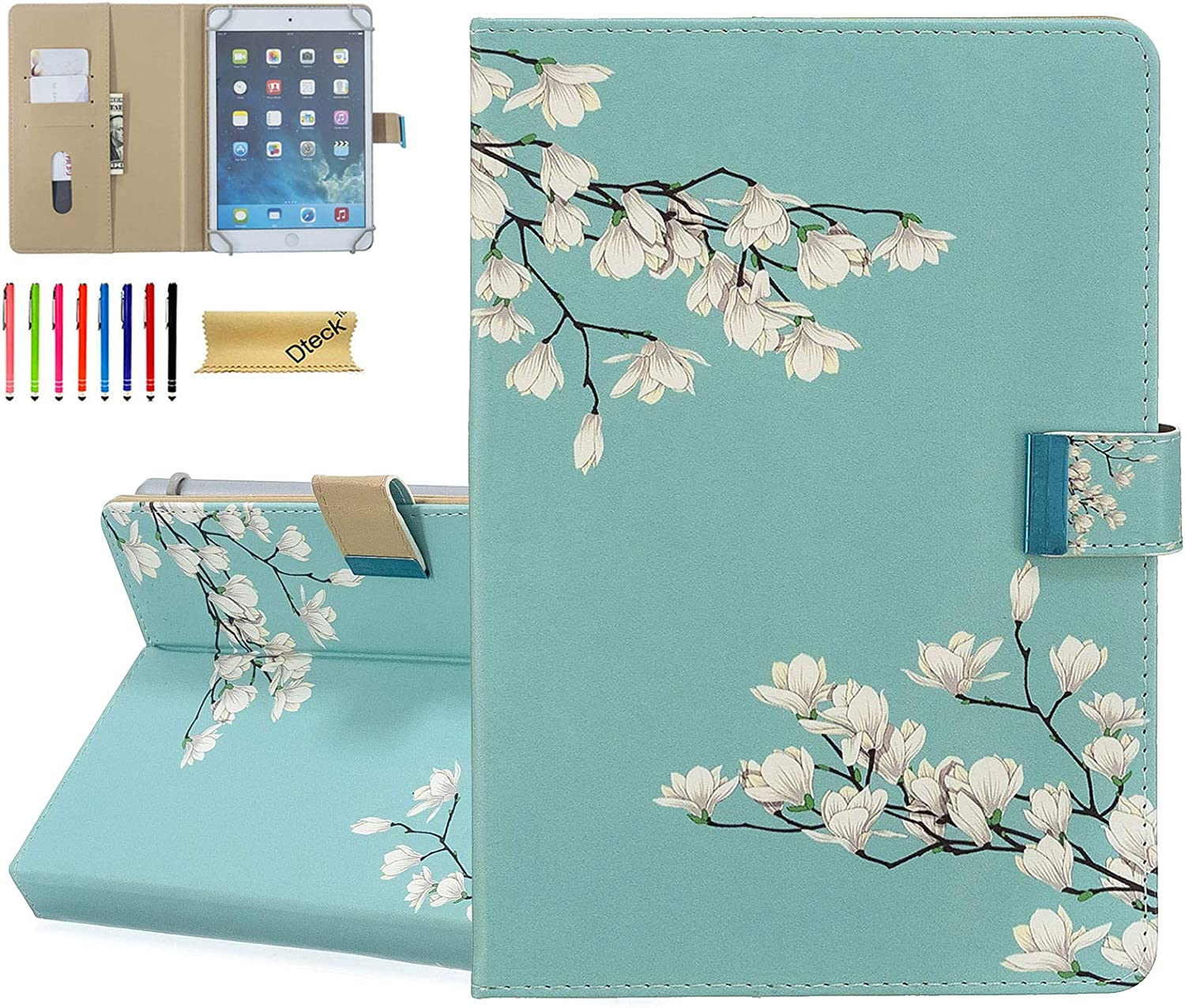 """8.0 Inch Universal Case - Dteck Protective Leather Wallet Flip Cover with Card Slots for Fire 8/ Samsung Tab 8"""" /Lenovo 8.0 /Dragon Touch 8.0 /ASUS ZenPad 8/8.0 Android Tablet (Mint White Flower)"""