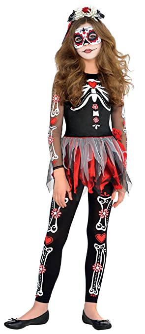 amazoncom amscan scared to the bones girls day of the dead costume clothing