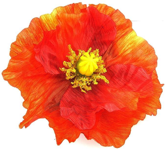 Amazon Large 45 Tropical Orange Poppy Silk Flower Hair Clip
