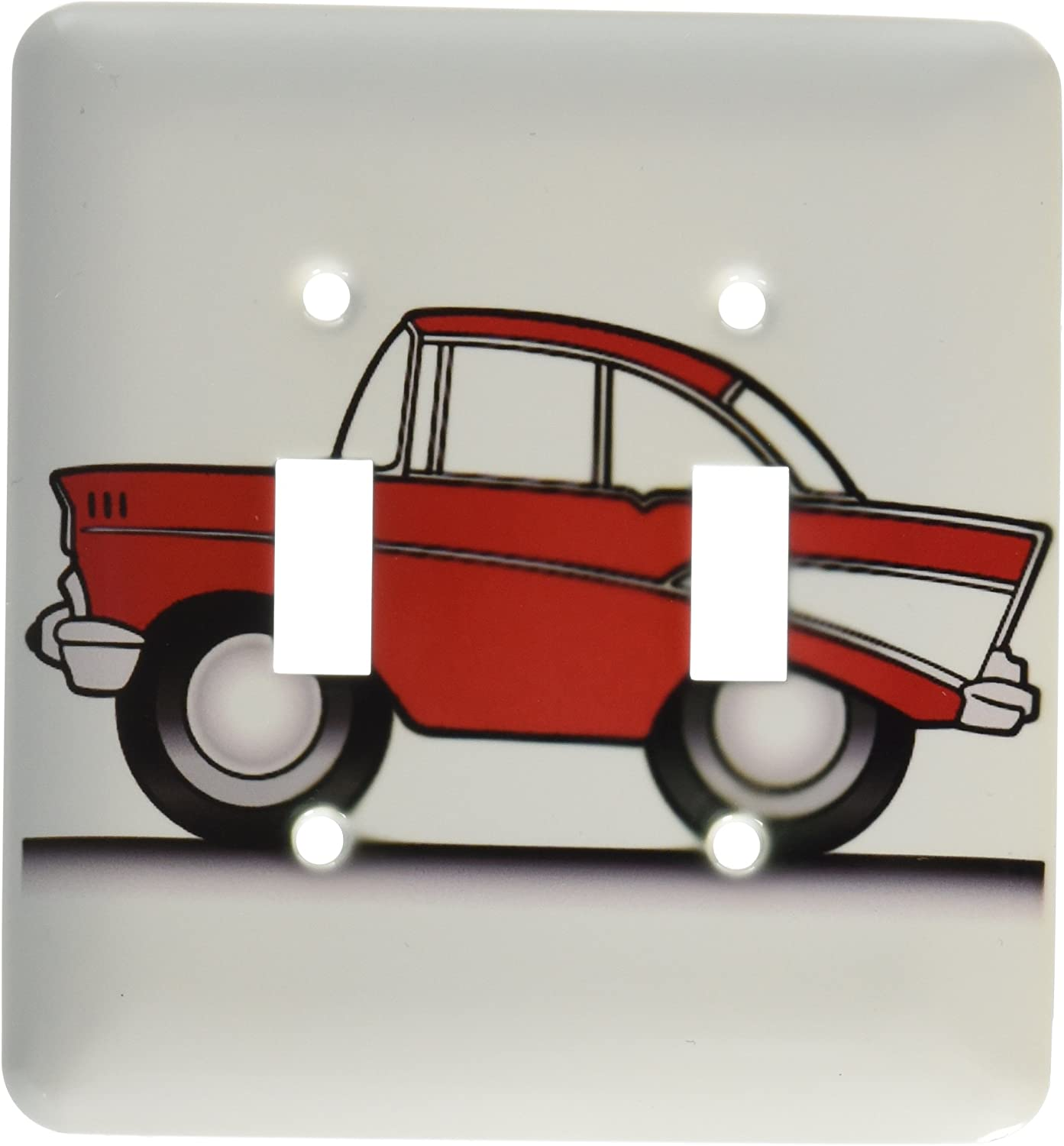 3drose Lsp 81023 2 Crazy Hot Rod Red 57 Trichev Cartoon Style On The Pavement Double Toggle Switch Switch Plates