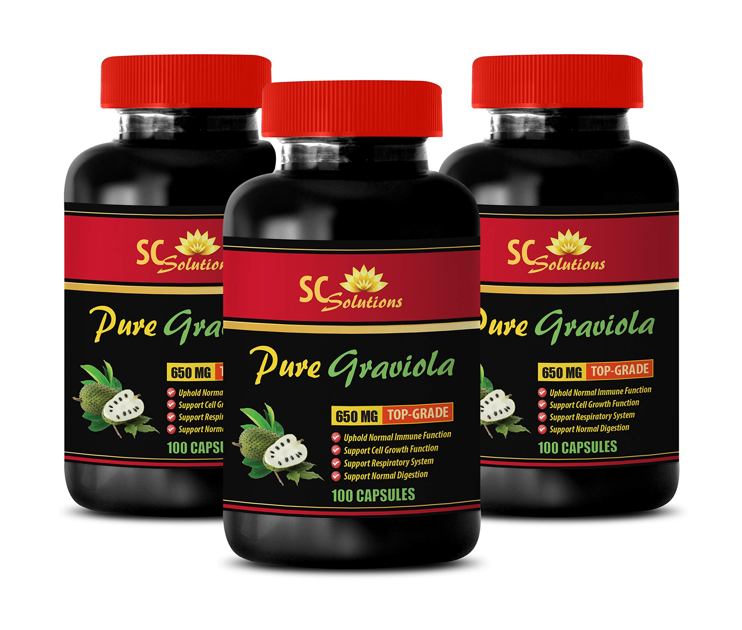 Digestive aid Pills - GRAVIOLA Leaf Extract (650Mg) - Guanabana Extract - 3 Bottles 300 Capsules