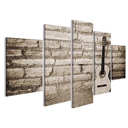 Quadro moderno Chitarra classica su vecchio muro di mattoni Stampa ...