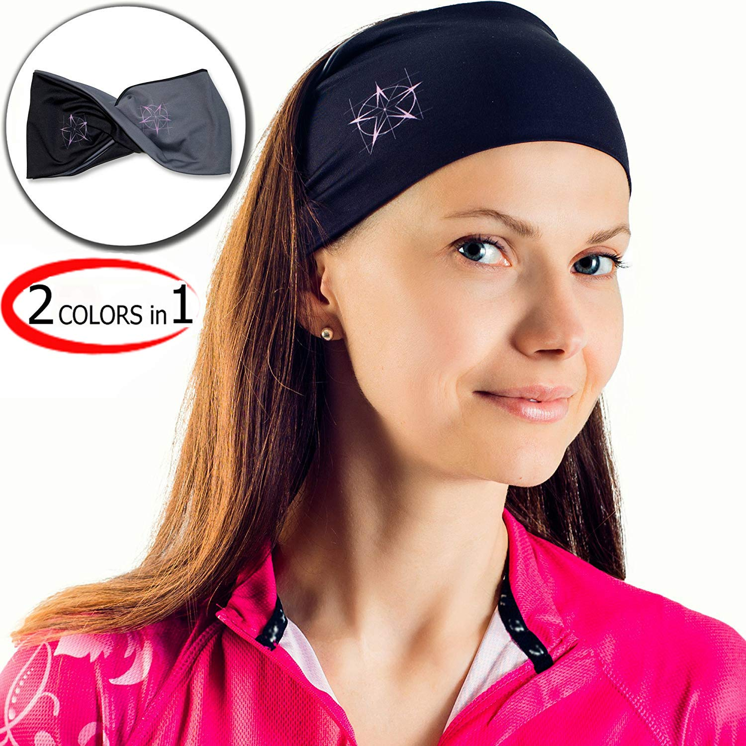 Sports Headband For Men & Women- For Workout, Yoga, Traveling, Everyday Use & So On- Stretchy Sweatband- Fashionable Design- Two-sided: Black & Grey