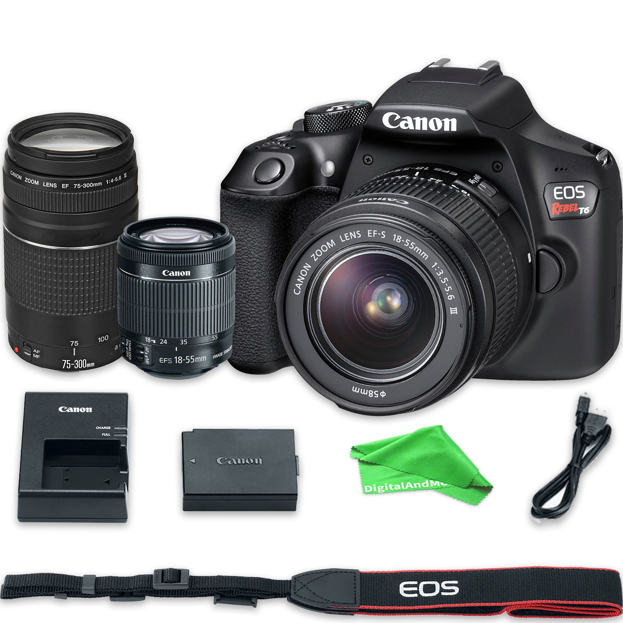 Canon EOS Rebel T6 Digital SLR Camera with 18-55mm EF-S f/3.5-5.6 IS II Lens & EF 75-300mm f/4-5.6 III Lens + DigitalAndMore Microfiber Cloth