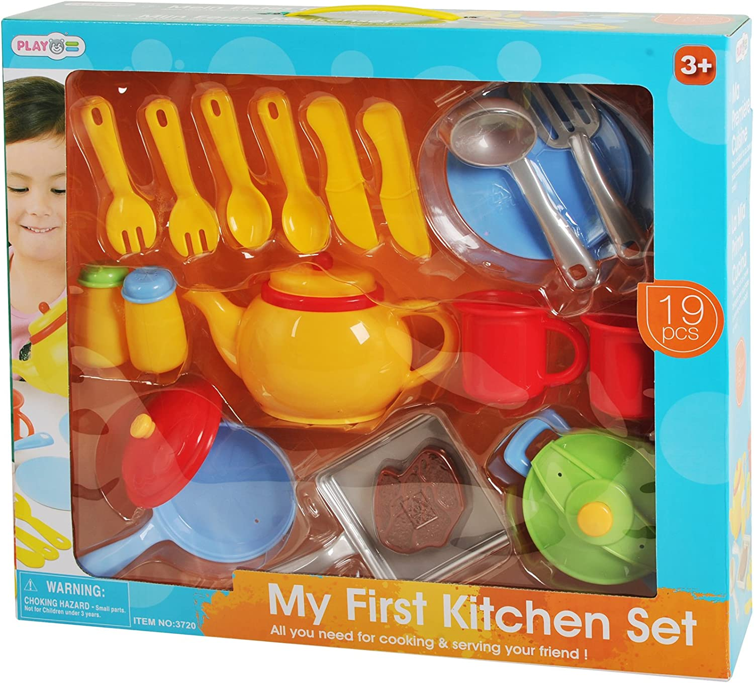 19 Pc My First Kitchen Playset Knife Forks Play Utensils Salt And Pepper Shakers Realistic Plastic Toy Cutlery Toy Cooking Accessories Toys Games