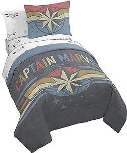 Jay Franco Captain Marvel Multi Stripes Bed Set, Full