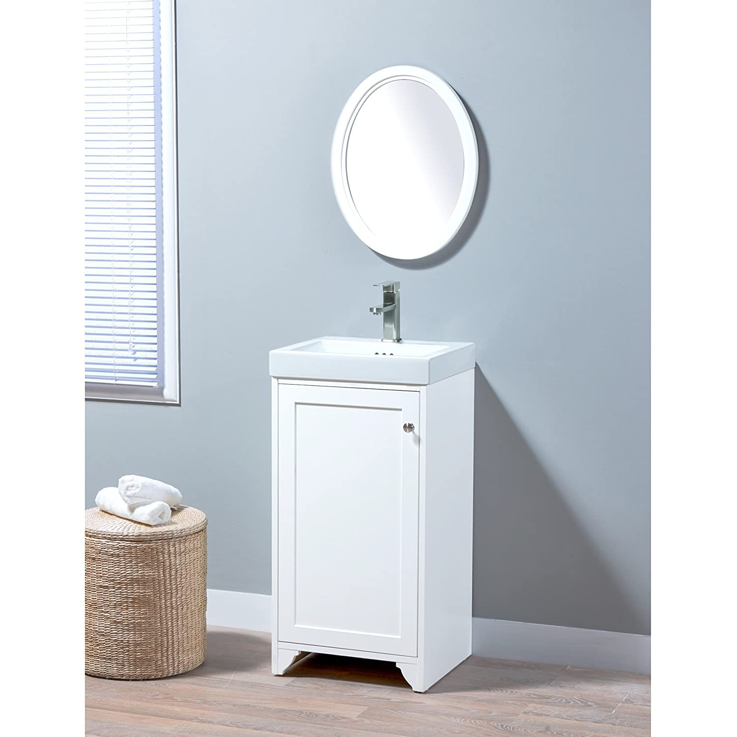low-cost MAYKKE Wren 19 Inch Bathroom Vanity Set in Birch Wood White Finish, Single White Bathroom Vanity with Top and 1 Door Cabinet, Marion White Ceramic Sink Top with Single Faucet Hole YSA1451812