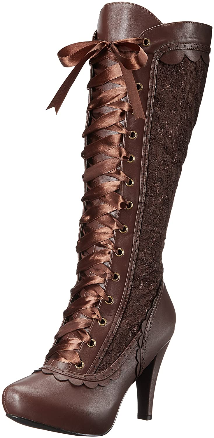 Women's 414-Mary Rich Brown Brocade & Satin Ribbon Lace-Up Victorian Pirate Boot - DeluxeAdultCostumes.com