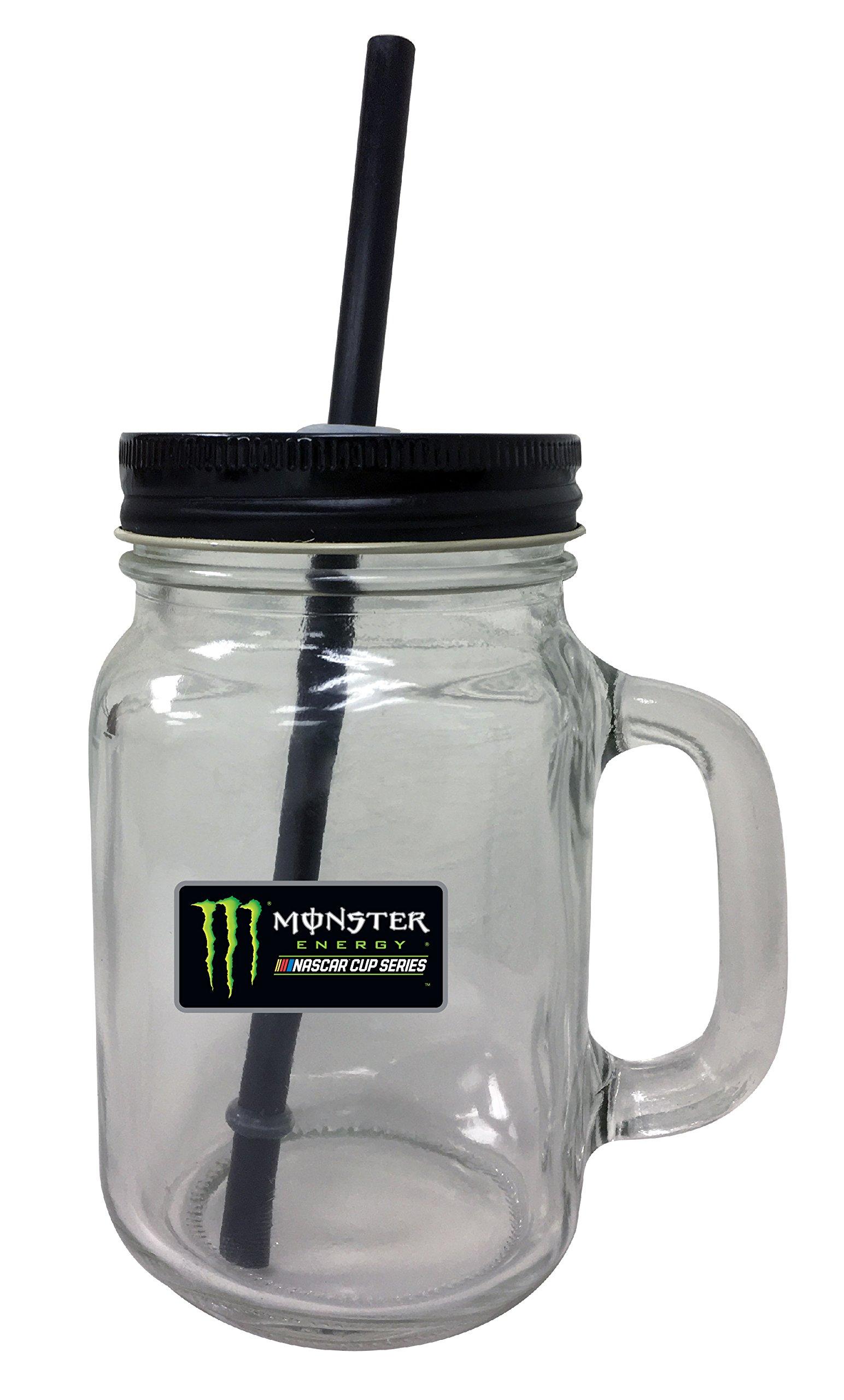 Monster Energy NASCAR Mason Jar Glass Tumbler