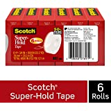 Scotch Super-Hold Tape, 6 Rolls, 50% More Adhesive, Trusted Favorite, 3/4  x 800 Inches, Boxed (700S6)