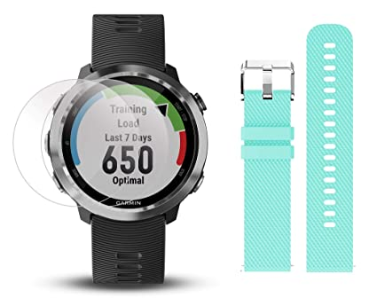 Garmin Forerunner 645 Bundle with Extra Band & HD Screen Protector Film  (x4) | Running GPS Watch, Wrist HR, LiveTrack, Garmin Pay (Stainless, Teal)
