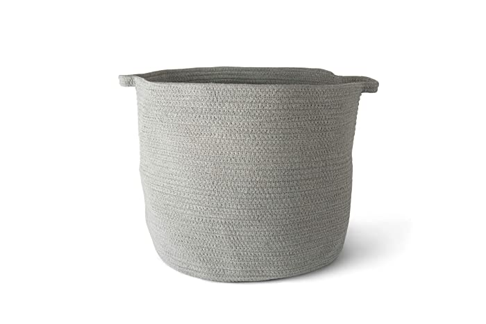 Organic Cotton Rope Basket Storage Woven Baby Laundry Basket with Diaper Toy Cute Neutral Home Décor (XL)